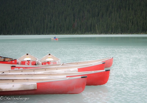 Red Canoes at Lake Louise, Banff National Park