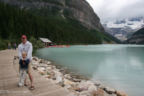 John and Caleb at Lake Louise