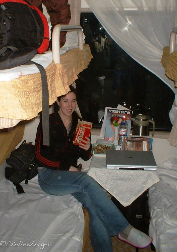 Carrie Kellenberger on the sleeper train from Beijing to Changchun