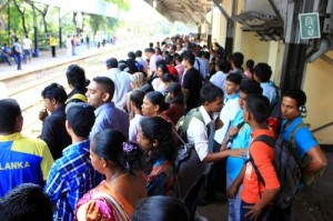 Sri Lanka crowded train station
