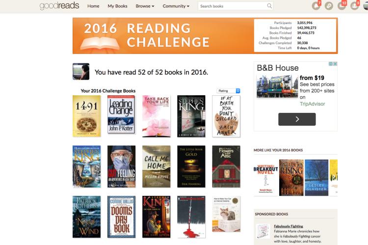 Carrie Kellenberger 2016 GoodReads Challenge