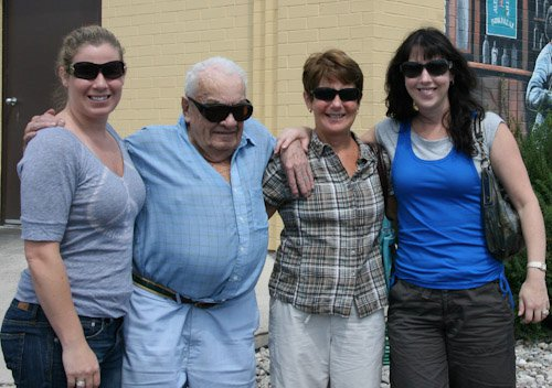 With his daughter Sandi and his two granddaughters