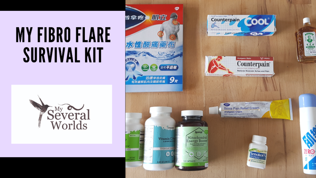My Fibromyalgia Flare Survival Kit - My Several Worlds - A list of things to have within reach when you're experiencing a flare-up from fibromyalgia or any other type of illness that shows an increase in symptoms when flaring.