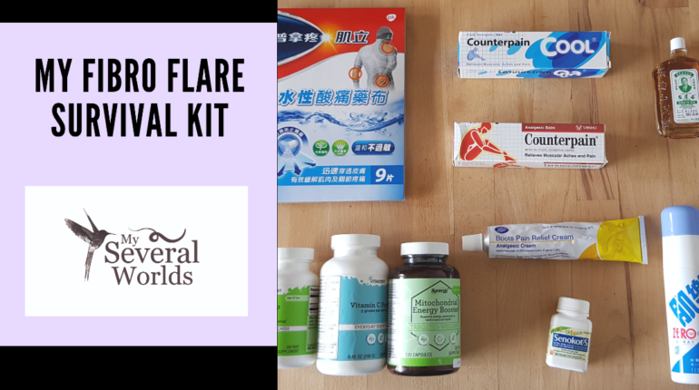 My Fibro Flare Survival Kit - My Several Worlds - A list of things to have within reach when you're experiencing a flare-up from fibromyalgia or any other type of illness that shows an increase in symptoms when flaring.